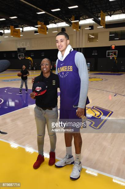 Larry Nance Jr introduces his pen pal former US Army specialist Bianca Campbell to Kyle Kuzma of the Los Angeles Lakers at UCLA Health Training...