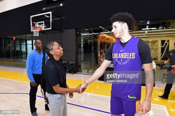 Larry Nance Jr introduces his pen pal former US Army specialist Bianca Campbell to Lonzo Ball of the Los Angeles Lakers at UCLA Health Training...