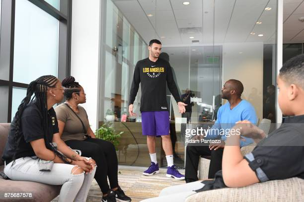 Larry Nance Jr meets his pen pal former US Army specialist Bianca Campbell at UCLA Health Training Center on November 15 2017 in El Segundo...