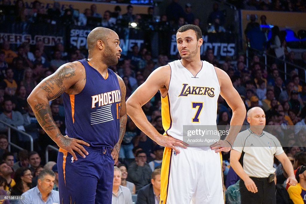 Larry Nance Jr (R) of Los Angeles Lakers and P.J. Tucker (L) of Phoenix Suns gesture during a NBA game between Los Angeles Lakers and Phoenix Suns at Staples Center in Los Angeles, USA on November 06, 2016.