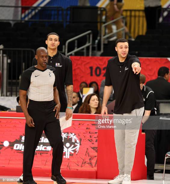 Larry Nance Jr of the Cleveland Cavaliers and Kyle Kuzma of the Los Angeles Lakers look on during the 2018 NBA Cares Unified Basketball Game as part...