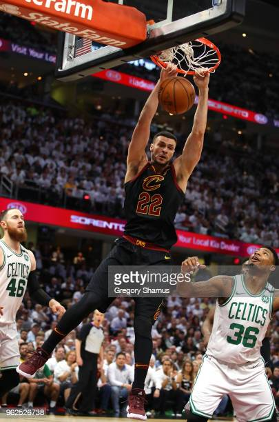 Larry Nance Jr. Of the Cleveland Cavaliers dunks in the second quarter against the Boston Celtics during Game Six of the 2018 NBA Eastern Conference...