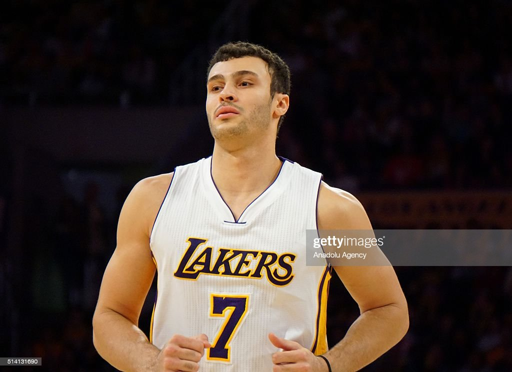 Larry Nance Jr. of the Los Angeles Lakers during the basketball game against Golden State Warriors at Staples Center March 6, 2016, in Los Angeles, California.