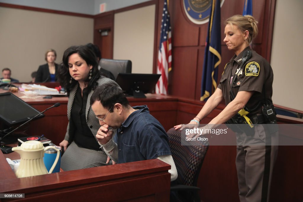Larry Nassar appears in court to listen to victim impact statements prior to being sentenced after being accused of molesting about 100 girls while he was a physician for USA Gymnastics and Michigan State University, where he had his sports-medicine practice on January 16, 2018 in Lansing, Michigan. Nassar has pleaded guilty in Ingham County, Michigan, to sexually assaulting seven girls, but the judge is allowing all his accusers to speak. Nassar is currently serving a 60-year sentence in federal prison for possession of child pornography.
