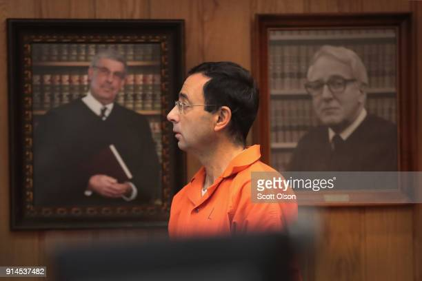 Larry Nassar arrives in court to be sentenced by Judge Janice Cunningham for three counts of criminal sexual assault in Eaton County Circuit Court on...
