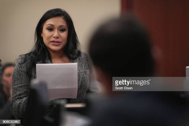 Larry Nassar listens to a victim impact statement from Jeanette Antolin during his sentencing hearing after being accused of molesting more than 100...