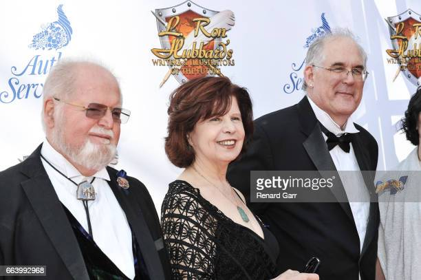 Larry Niven Nancy Kress and Todd McCaffrey attends the 33rd Annual L Ron Hubbard Achievement Awards at The Wilshire Ebell Theatre on April 2 2017 in...