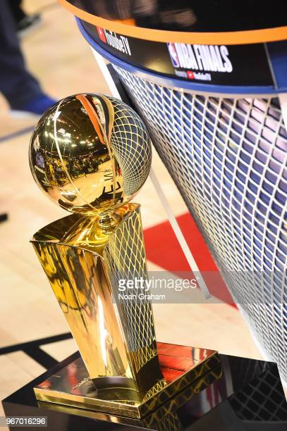 Larry O'Brien Championship Trophy before game between Cleveland Cavaliers and Golden State Warriors in Game Two of the 2018 NBA Finals on June 3 2018...