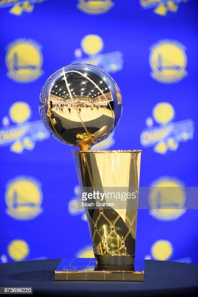 Larry O'Brien Championship Trophy seen before the Golden State Warriors Victory Parade on June 12 2018 in Oakland California NOTE TO USER User...