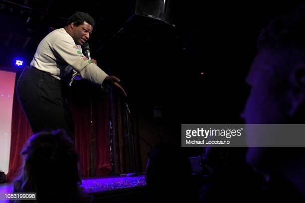 Larry Owens performs during the the Movement Voter Project comedy benefit at The Bell House on October 24 2018 in the Brooklyn borough of New York...
