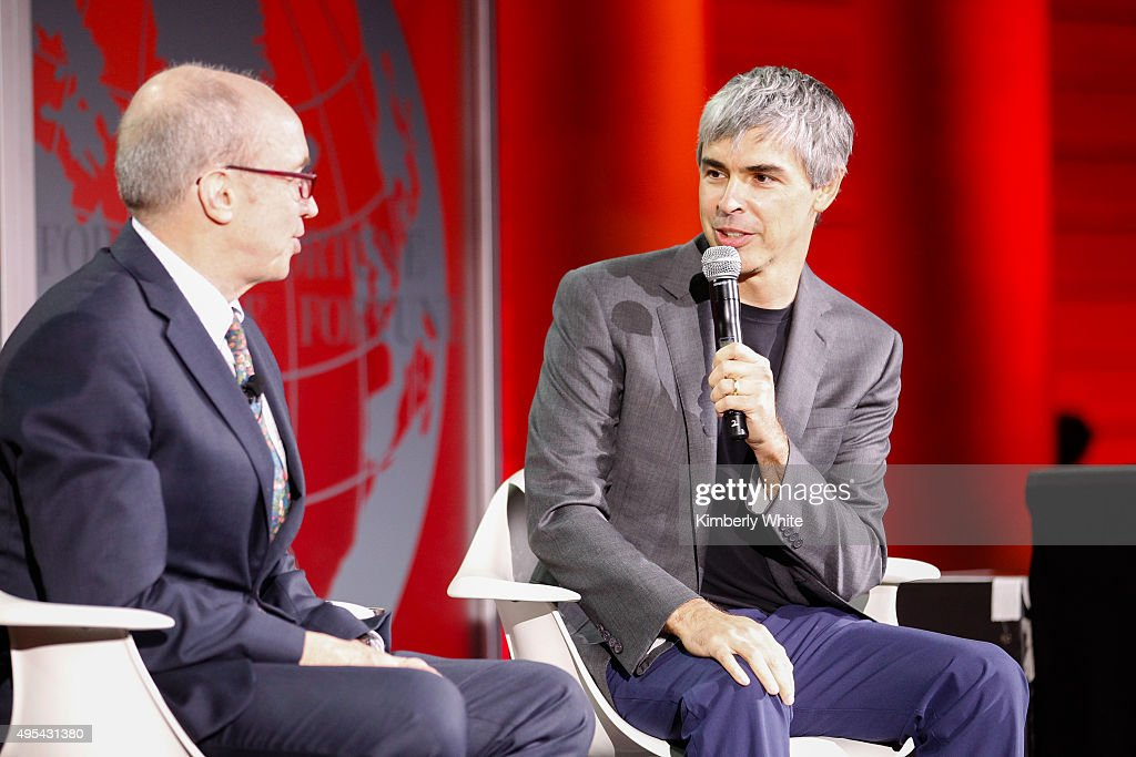 Larry Page (R) and Alan Murray speak during the Fortune Global Forum at the Legion Of Honor on November 2, 2015 in San Francisco, California.