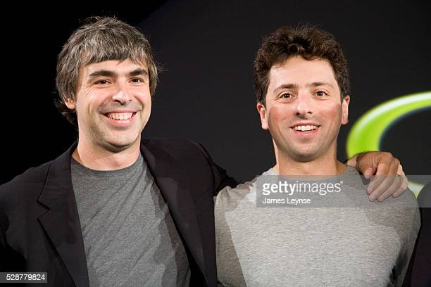 Larry Page and Sergey Brin the cofounders of Google at a press event where Google and TMobile announced the first Android powered cellphone the...