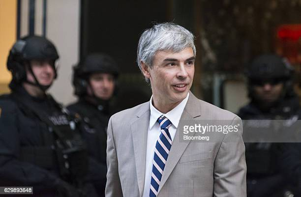 Larry Page, chief executive officer and co-founder of Alphabet Inc., leaves Trump Tower in New York, U.S., on Wednesday, Dec. 14, 2016. Technology...