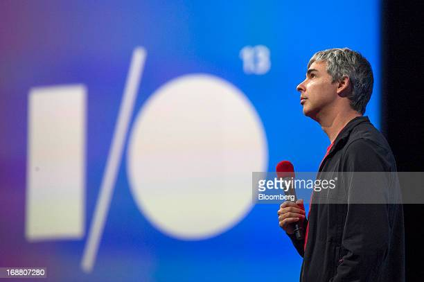 Larry Page cofounder and chief executive officer at Google Inc pauses while speaking at the Google I/O Annual Developers Conference in San Francisco...