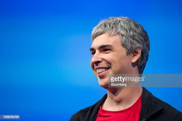 Larry Page cofounder and chief executive officer at Google Inc smiles during the Google I/O Annual Developers Conference in San Francisco California...