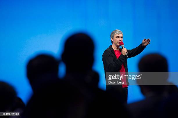 Larry Page cofounder and chief executive officer at Google Inc speaks during the Google I/O Annual Developers Conference in San Francisco California...