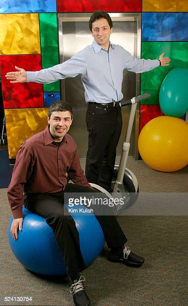 Larry Page CoFounder and President Products and Sergey Brin CoFounder and President Technology pose on Google's campus headquarters in Mountain View...
