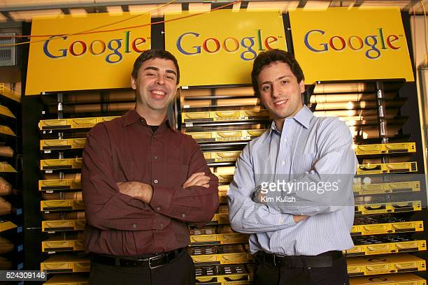 Larry Page CoFounder and President Products and Sergey Brin CoFounder and President Technology at Google's campus headquarters in Mountain View Calif...