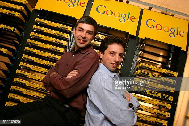 Larry Page , Co-Founder and President, Products and Sergey Brin, Co-Founder and President, Technology pose inside the server room at Google's campus...