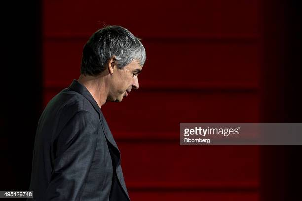 Larry Page cofounder of Google Inc and chief executive officer of Alphabet Inc leaves the stage after speaking during the 2015 Fortune Global Forum...