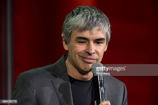 Larry Page cofounder of Google Inc and chief executive officer of Alphabet Inc reacts to a question during the 2015 Fortune Global Forum in San...