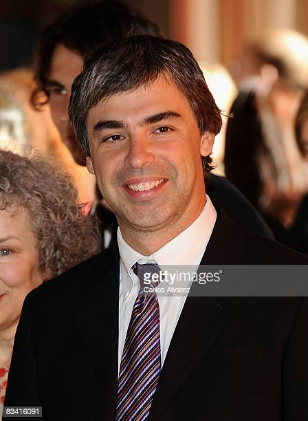 Larry Page Founder of Google arrives to an audence with Prince Felipe of Spain before Prince of Asturias Awards ceremony on October 24 2008 at Hotel...