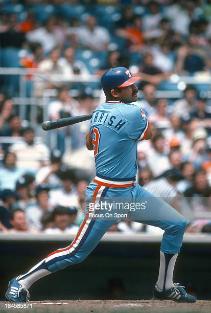 Larry Parrish of the Texas Rangers bats against the New York Yankees during an Major League Baseball game circa 1982 at Yankee Stadium in the Bronx...