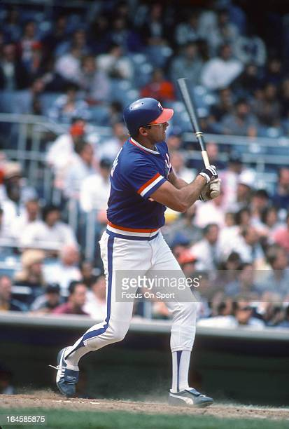 Larry Parrish of the Texas Rangers bats against the New York Yankees during an Major League Baseball game circa 1985 at Yankee Stadium in the Bronx...