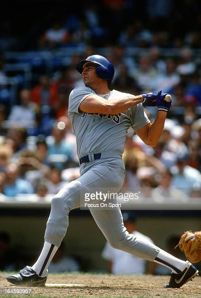 Larry Parrish of the Texas Rangers bats against the New York Yankees during an Major League Baseball game circa 1986 at Yankee Stadium in the Bronx...