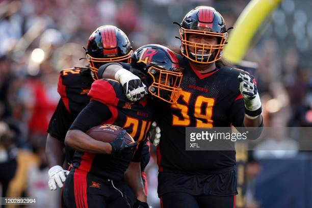 Larry Rose and Fred Lauina of the Los Angeles Wildcats celebrate after a touchdown during the XFL game against the DC Defenders at Dignity Health...