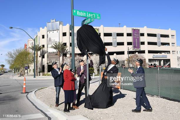 Larry Ruvo Las Vegas Mayor Carolyn Goodman Las Vegas Councilman Cedric Crear Steven Leach writer John Katsilometes reveal the Robin Leach street sign...