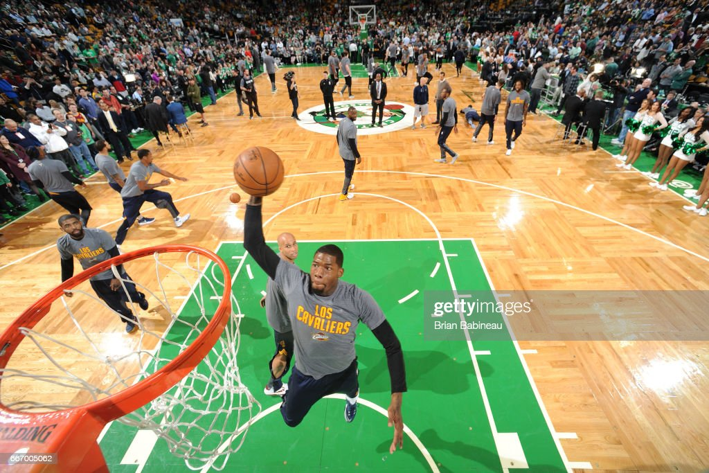 Larry Sanders #9 of the Cleveland Cavaliers warms up before the game against the Boston Celtics on March 1, 2017 at the TD Garden in Boston, Massachusetts.