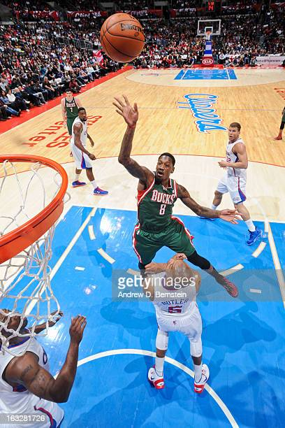 Larry Sanders of the Milwaukee Bucks shoots in the lane against Caron Butler of the Los Angeles Clippers at Staples Center on March 6 2013 in Los...