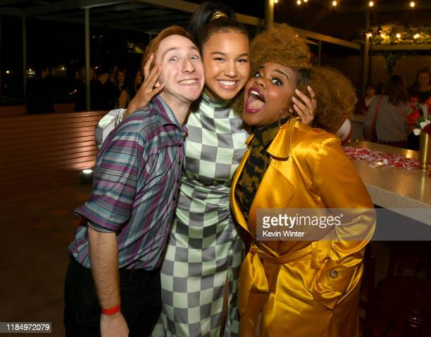 """Larry Saperstein, Sofia Wylie and Dara Renee pose at the after party for the premiere of Disney+'s """"High School Musical: The Musical: The Series"""" at..."""
