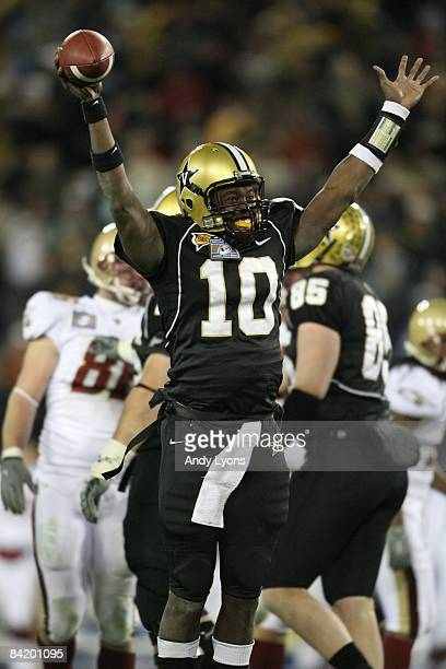 Larry Smith of the Vanderbilt Commodores celebrates against the Boston College Eagles during the Gaylord Hotels Music City Bowl at LP Field on...