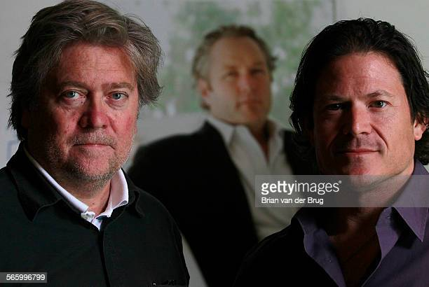 Larry Solov right and Steve Bannon left in the offices of Breitbartcom July 13 2012 in Los Angeles The pair are trying to fill Andrew Brietbart' s...