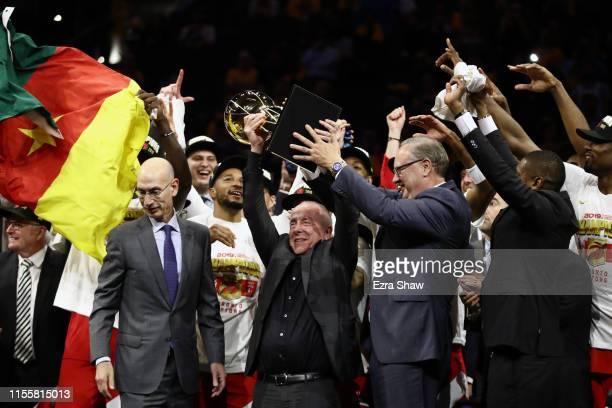Larry Tanenbaum holds the Larry O'Brien Championship Trophy after the Toronto Raptors defeat the Golden State Warriors to win Game Six of the 2019...