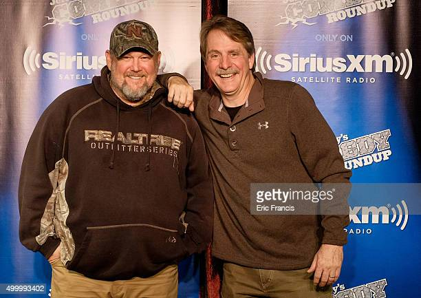 Larry The Cable Guy and Jeff Foxworthy pose after a special comedic conversation to air on SiriusXM's Jeff Larry's Comedy Roundup Channel on December...
