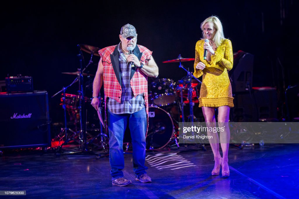 Larry The Cable Guy and Letitia Frye speak on stage at