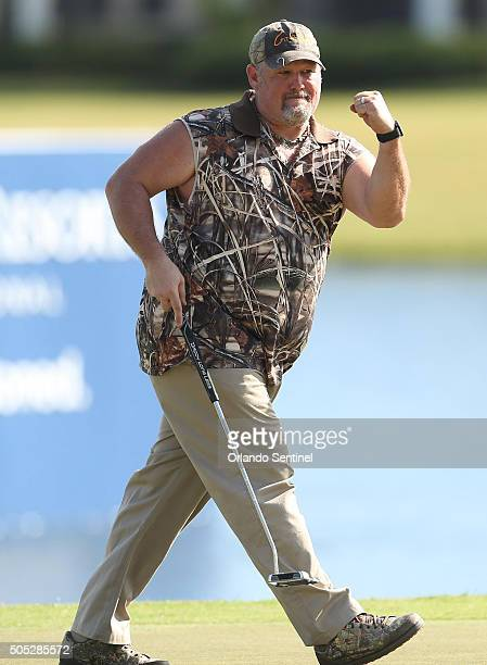 Larry The Cable Guy celebrates a putt during the Diamond Resorts Invitational at The Golden Bear Club at Keene's Point in Wintermere Fla on Saturday...
