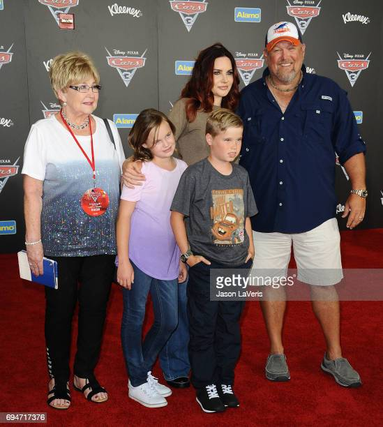 Larry the Cable Guy wife Cara Whitney and children Reagan Whitney and Wyatt Whitney attend the premiere of Cars 3 at Anaheim Convention Center on...