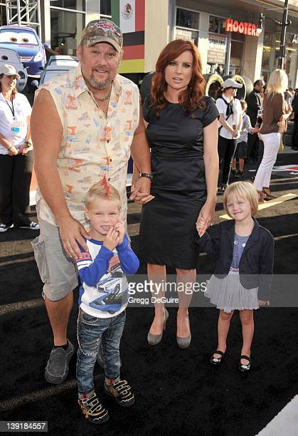 Larry the Cable Guy wife Cara Whitney daughter Reagan and son Wyatt arrive at the World Premiere of Disney Pixar's 'Cars 2' at the El Capitan Theatre...