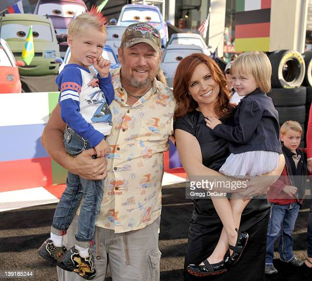 Larry the Cable Guy wife Cara Whitney daughter Reagan and son Wyatt arrive at the World Premiere of Disney Pixar's Cars 2 at the El Capitan Theatre...