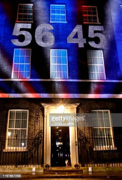Larry the Downing Street cat sits underneath a digital Brexit countdown clock as it is projected onto the front of 10 Downing Street the official...