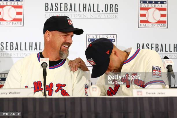 Larry Walker and Derek Jeter speak to the media after being elected into the National Baseball Hall of Fame Class of 2020 on January 22, 2020 at the...
