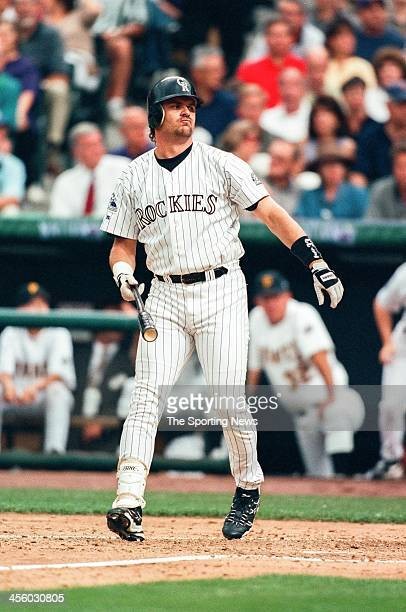 Larry Walker of the Colorado Rockies during the All-Star Game on July 7, 1998 at Coors Field in Denver, Colorado.