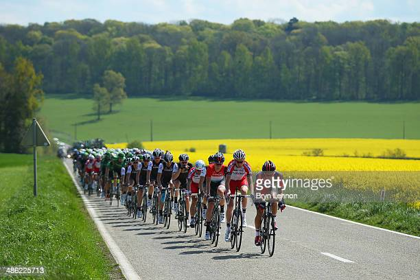 Larry Warbasse of the United States and BMC Racing leads the peoloton during the 78th edition of the La Fleche Wallonne on April 23 2014 in Bastogne...