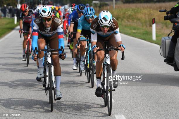 Larry Warbasse of The United States and Team Ag2R La Mondiale / Geoffrey Bouchard of France and Team Ag2R La Mondiale / Breakaway / during the 103rd...