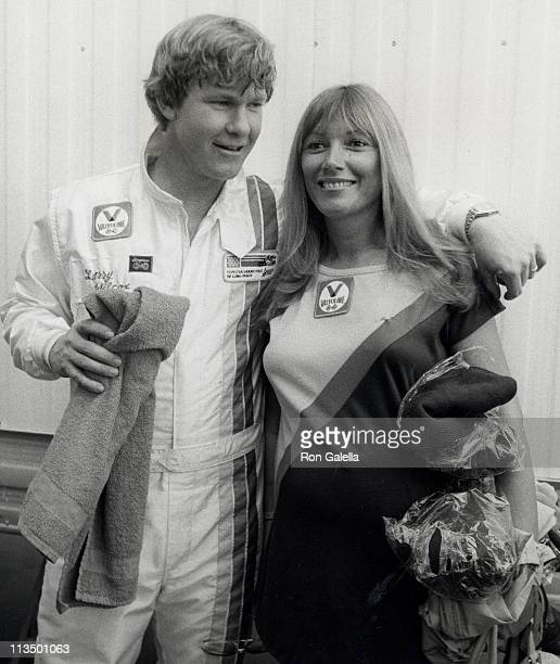 Larry Wilcox and Hannie Strasser during Toyota Pro/Celebrity Auto Race March 14 1981 at Long Beach Racetrack in Long Beach California United States