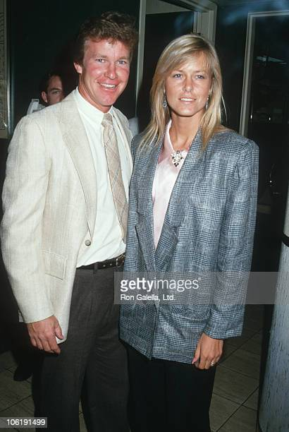 Larry Wilcox and Hannie Strasser during Windfeathers Cocktail Party at Nicky Blair's in Hollywood California United States